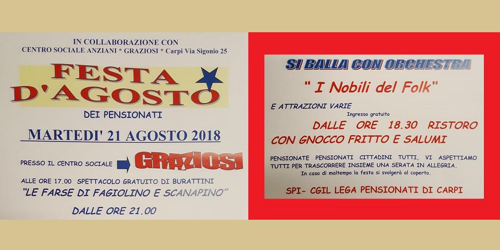wholesale dealer d5a16 6fab0 FESTA DI AGOSTO 2018 DEI PENSIONATI A CARPI - CGIL Modena