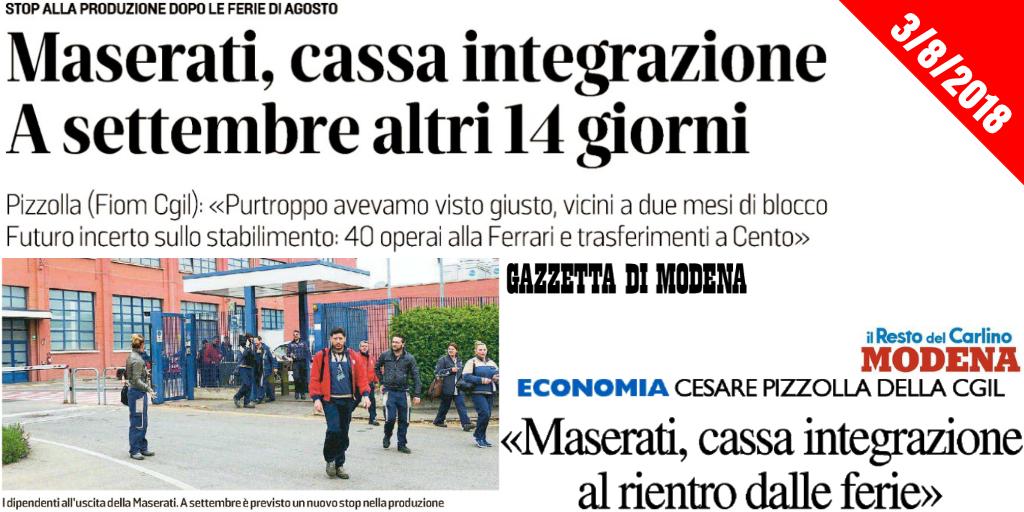 Ancora stop produzione - Dipendenti Maserati in cassa integrazione - 3/8/2018
