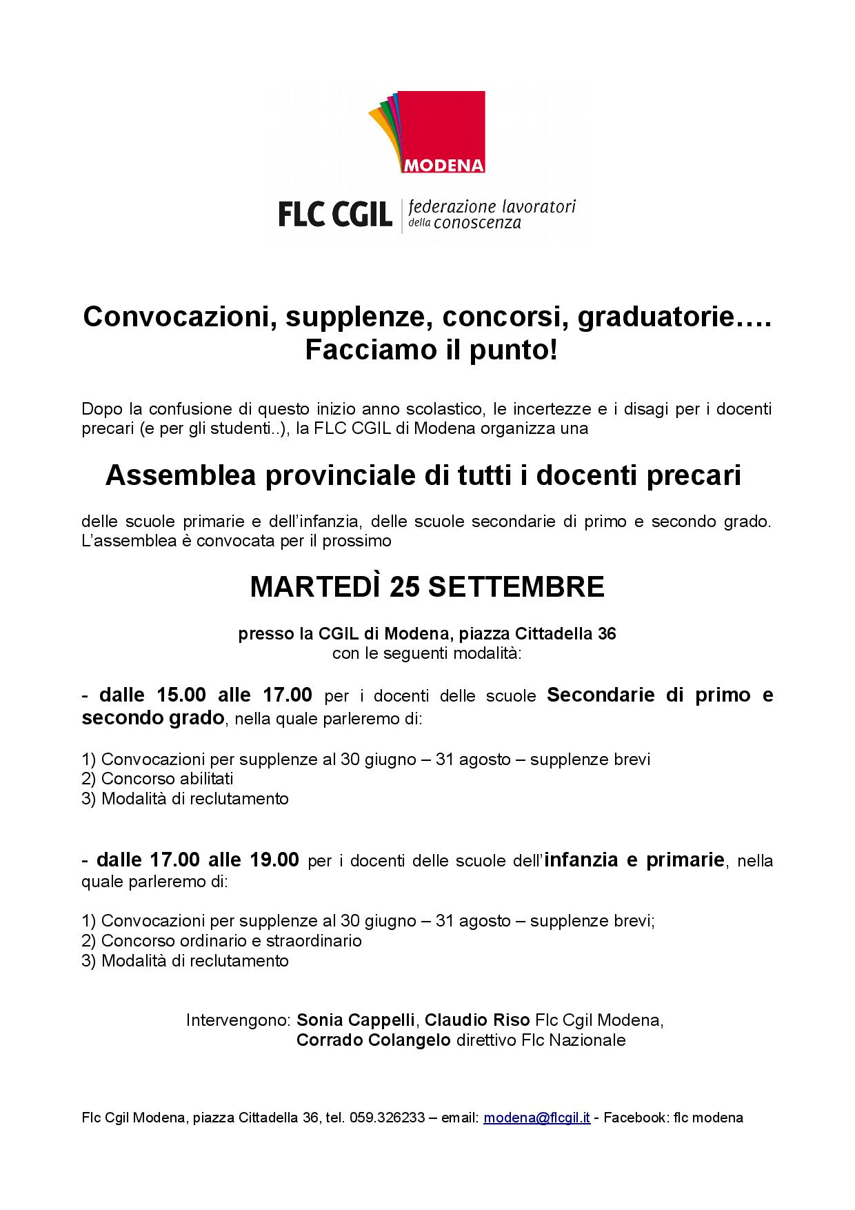 Scuola assemblee su convocazioni supplenze concorsi graduatorie - 25/9/2018
