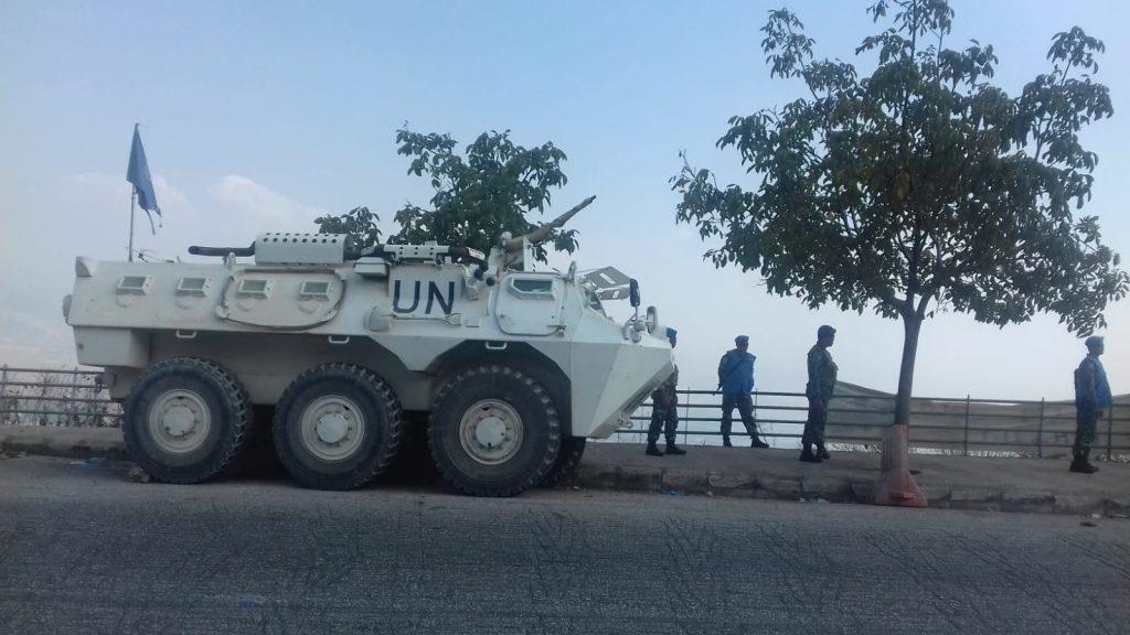 Confine con Israele che occupa il nord palestinese. Di qua dalla frontiera le truppe ONU, 18.9.18