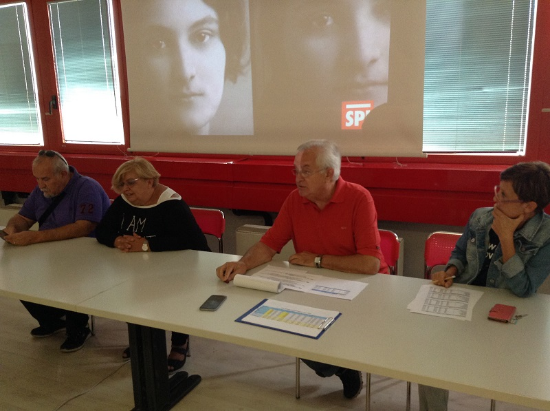 la segreteria provinciale Spi/Cgil Modena e alcuni coordinatori delle Leghe Spi