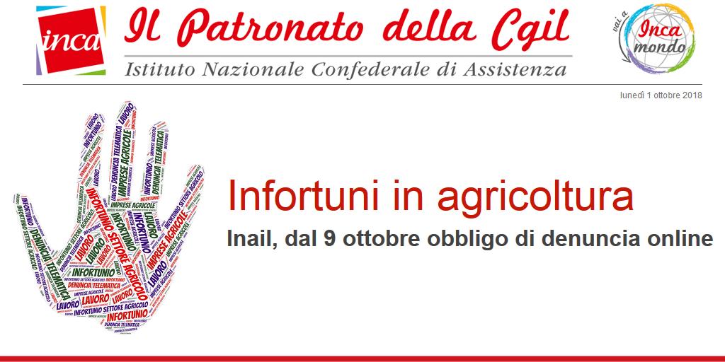 Infortuni settore agricolo