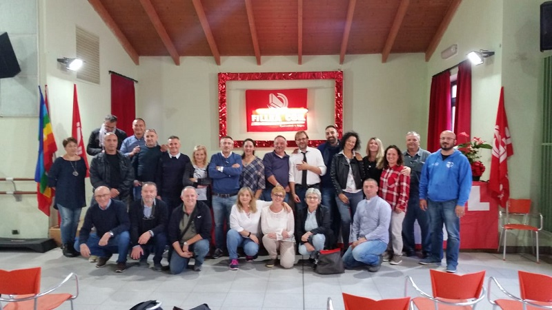 Direttivo Fillea Cgil Modena con il neo-rieletto segretario Marcello Beccati.
