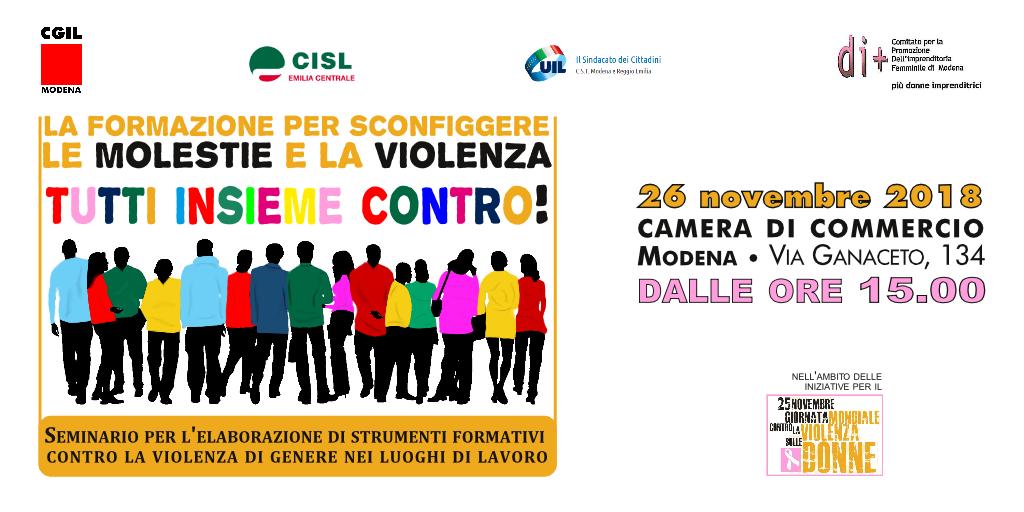 Seminario elaborazione strumenti formativi contro violenza di genere nei luoghi di lavoro - 26 novembre 2018 - Modena
