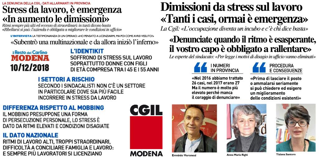 Stress da lavoro correlato - il Resto del Carlino (10/12/2018)