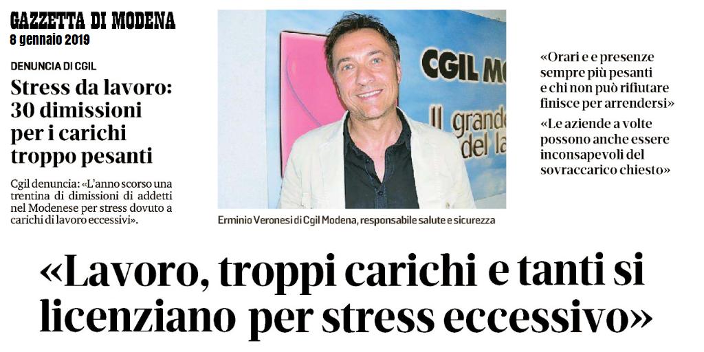 Stress da lavoro correlato - Gazzetta di Modena (8/1/2019)