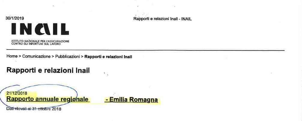 Inail report infortuni, 21.12.18