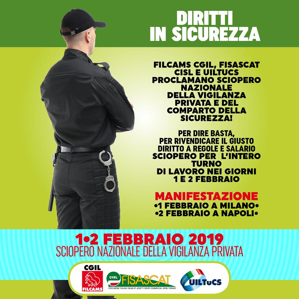 1 e 2 febbraio 2019 sciopero vigilanza privata