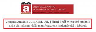 Afeva - I diritti degli ex-esposti amianto nella piattaforma della manifestazione nazionale del 9 febbraio a ROMA