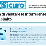 PuntoSicuro: importanza valutare interferenze contratti appalto