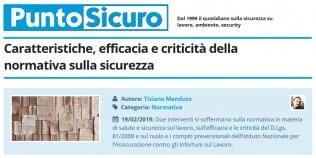 PuntoSicuro - Caratteristiche, efficacia, criticità della normativa sulla sicurezza nei luoghi di lavoro