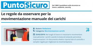 PuntoSicuro - Regole da osservare per movimentazione manuale dei carichi
