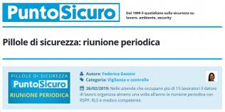 PuntoSicuro - Pillole di sicurezza: la riunione periodica