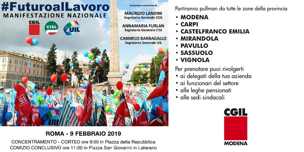 manifestazione unitaria a Roma - 9 febbraio 2019