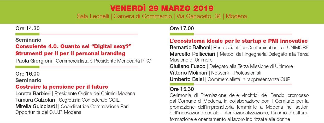 Ricomincio da me - Modena, 29 marzo 2019 - Camera di Commercio