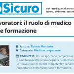 PuntoSicuro - Salute dei lavoratori: ruolo del medico competente
