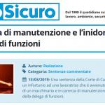 PuntoSicuro - Sulla carenza di manutenzione e l'inidoneità della delega di funzioni