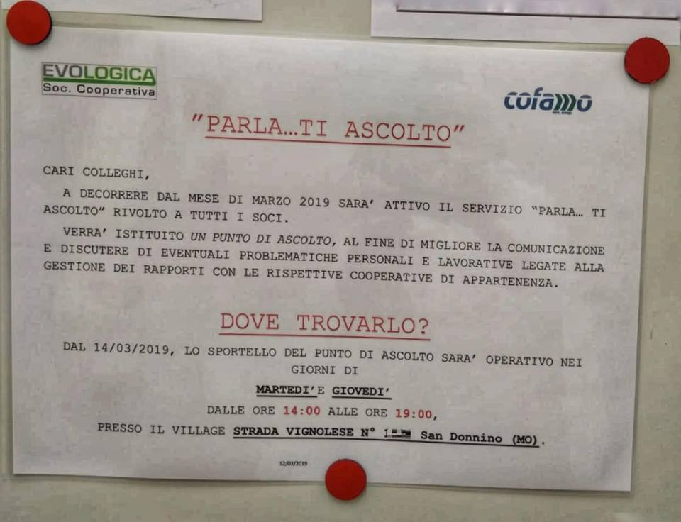 Italpizza, cooperative in appalto, Evologica e Cofamo, offronono punto d'ascolto ai lavoratori, ma ignorano le loro organizzazioni sindacali - VOLANTINO AZIENDALE