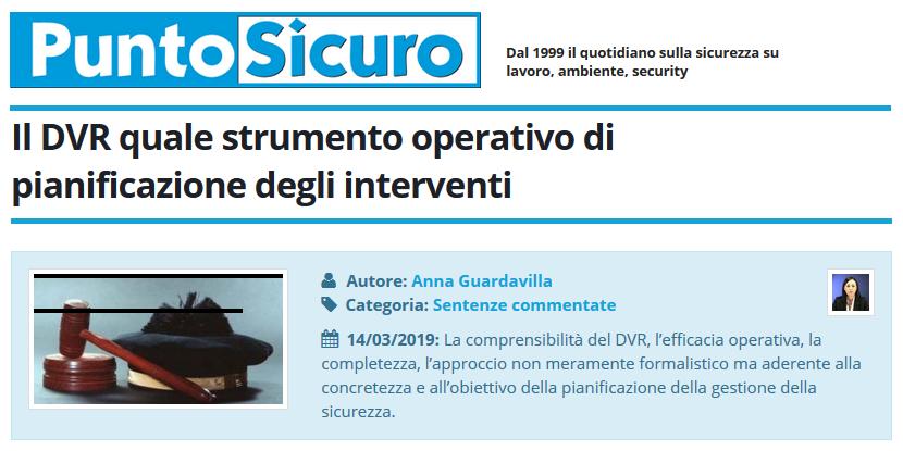 PuntoSicuro - Il DVR quale strumento operativo di pianificazione degli interventi