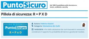 PuntoSicuro - Pillola di sicurezza: R = P X D