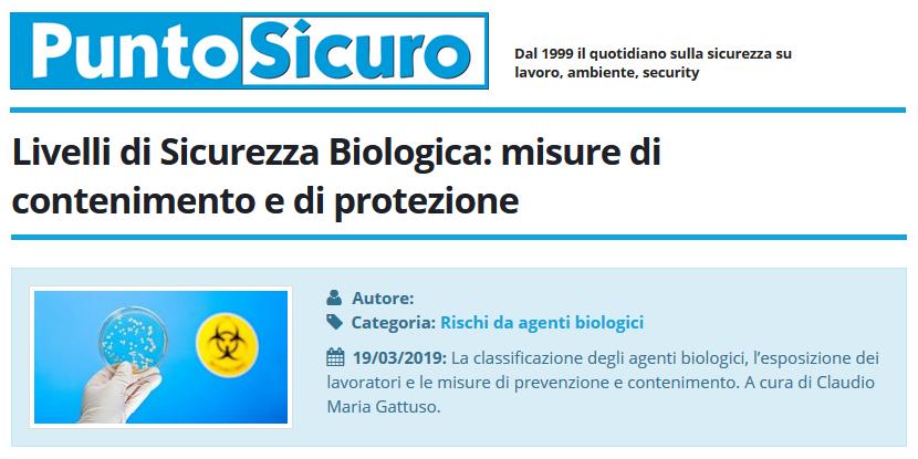 PuntoSicuro - Livelli di Sicurezza Biologica: misure di contenimento e di protezione