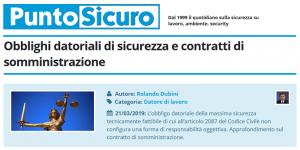 PuntoSicuro - Obblighi datoriali di sicurezza e contratti di somministrazione
