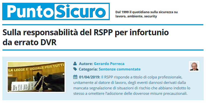 PuntoSicuro - Sulla responsabilità del RSPP per infortunio da errato DVR