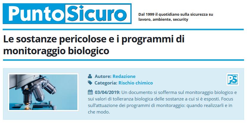 PuntoSicuro - Le sostanze pericolose e i programmi di monitoraggio biologico