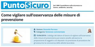 PuntoSicuro - Come vigilare sull'osservanza delle misure di prevenzione