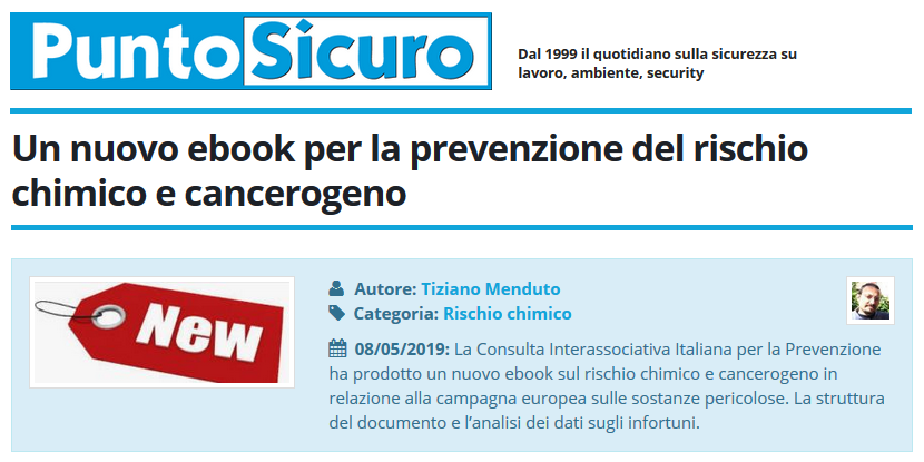 Un nuovo ebook per la prevenzione del rischio chimico e cancerogeno