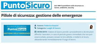 PuntoSicuro - Pillole di sicurezza: gestione delle emergenze