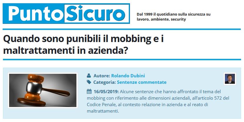PuntoSicuro - Quando sono punibili il mobbing e i maltrattamenti in azienda?