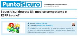 PuntoSicuro - Medico competente e RSPP in uno?