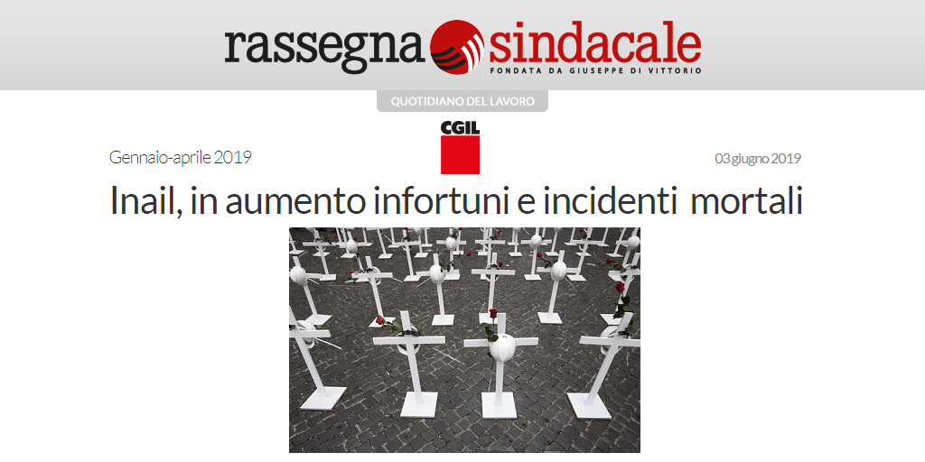 Inail, in aumento infortuni e incidenti mortali