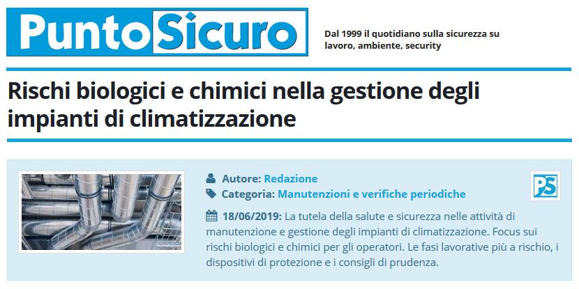 PuntoSicuro - Rischi biologici e chimici nella gestione degli impianti di climatizzazione