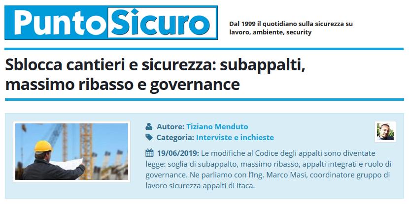 PuntoSicuro - Sblocca cantieri e sicurezza: subappalti, massimo ribasso e governance