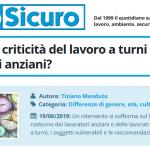 PuntoSicuro - Quali sono le criticità del lavoro a turni nelle donne e negli anziani?