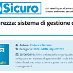 PuntoSicuro - Pillole di sicurezza: sistema di gestione dei rischi