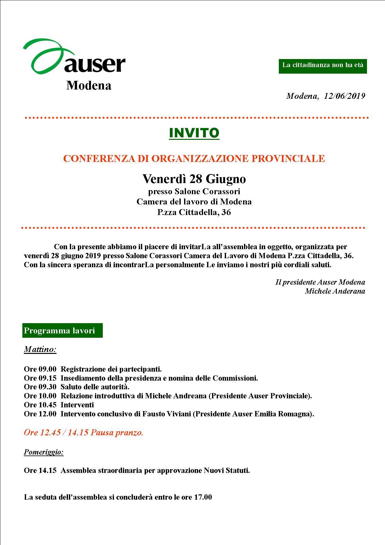 auser conferenza organizzazione 28.6.19