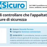 PuntoSicuro - Sull'obbligo di controllare che l'appaltatore adotti le misure di sicurezza