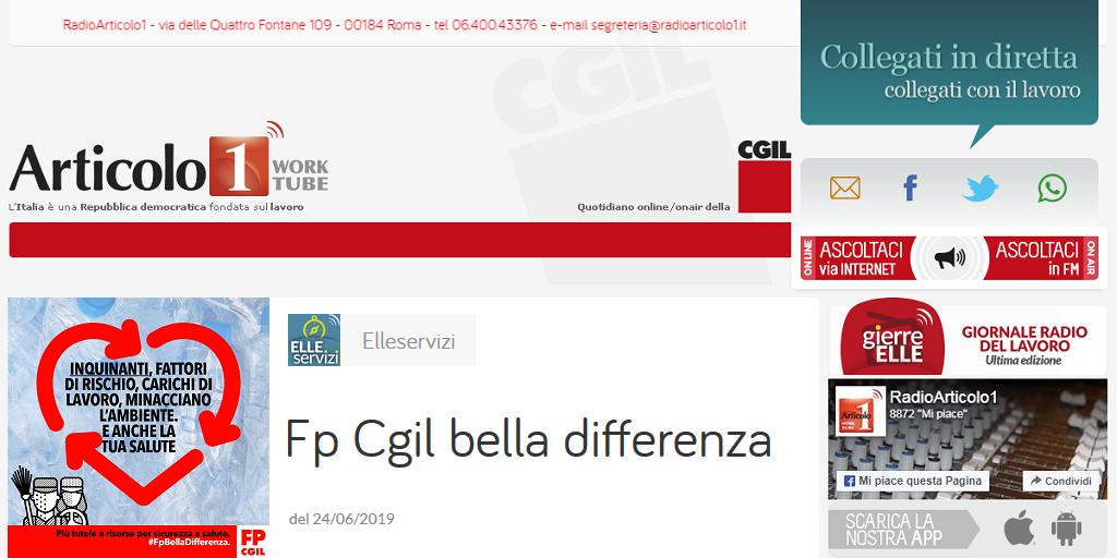 Radioarticolo1.it - Fp Cgil, campagna del sindacato su salute e sicurezza nel settore dell'igiene ambientale