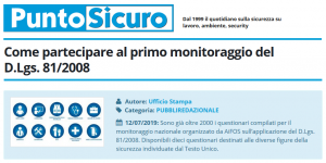 PuntoSicuro - Come partecipare al primo monitoraggio del D.Lgs. 81/2008