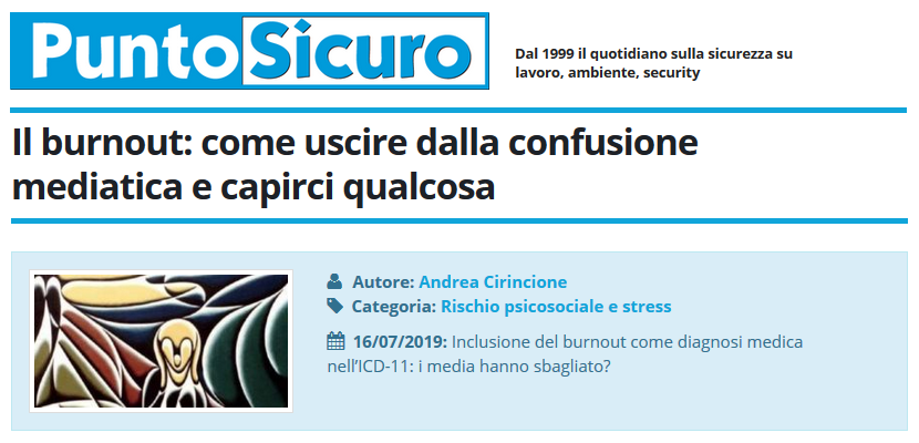 PuntoSicuro - Il burnout: come uscire dalla confusione mediatica e capirci qualcosa