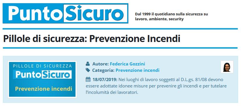 PuntoSicuro - Pillole di sicurezza: Prevenzione Incendi