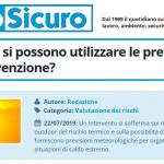 PuntoSicuro - Caldo estivo: si possono utilizzare le previsioni per fare prevenzione?