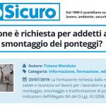 PuntoSicuro - Che formazione è richiesta per addetti al montaggio e smontaggio dei ponteggi?
