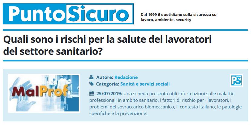 PuntoSicuro - Quali sono i rischi per la salute dei lavoratori del settore sanitario?