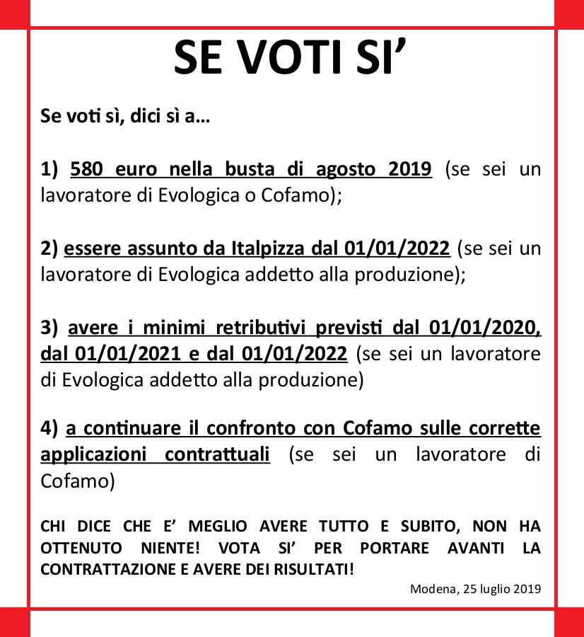 Se voti sì - Ipotesi Accordo Quadro sito Italpizza - 25/72019