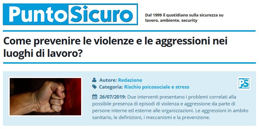 PuntoSicuro - Come prevenire le violenze e le aggressioni nei luoghi di lavoro?