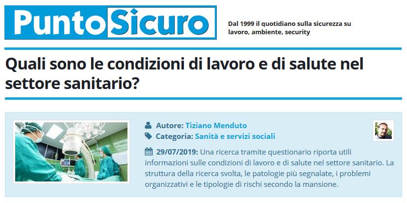 PuntoSicuro - Quali sono le condizioni di lavoro e di salute nel settore sanitario?